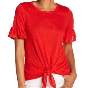 Bobeau SZ L Ruffle Tie Christmas Red Top Shirt NWT